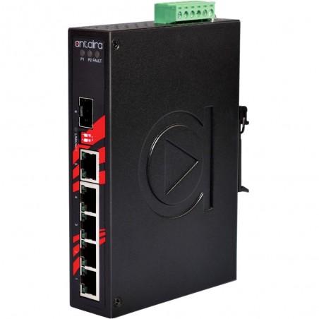 5 ports Industriel 10/100/1000Mbit + 1 x 100/1000Mbit SFP slot switch, DIN-beslag, -40 - +75°C, 12 - 48VDC