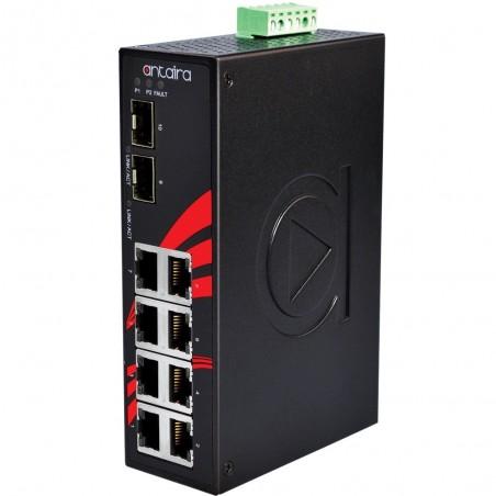 8 ports Industriel 10/100/1000Mbit + 2 x 100/1000Mbit SFP slot switch, DIN-beslag, -40 - +75°C, 12 - 48VDC