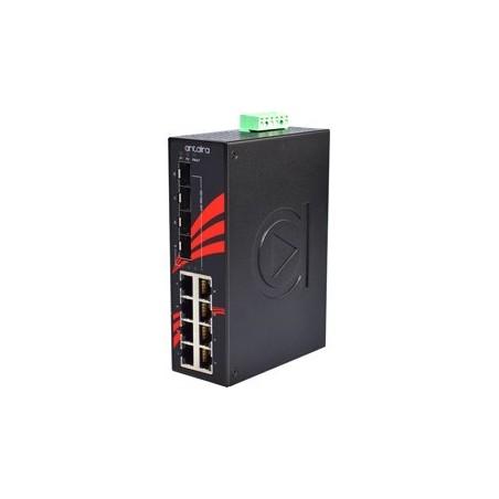 8 ports Industriel 10/100/1000Mbit + 4 x 100/1000Mbit SFP slot switch, DIN-beslag, -40 - +75°C, 12 - 48VDC