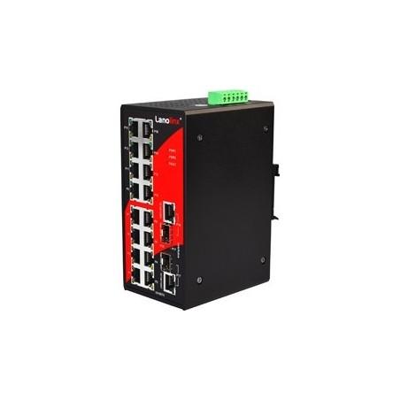 16 ports Industriel 10/100Mbit + 2 x 100/1000Mbit SFP slot switch, DIN-beslag, -40 - +80°C, 12 - 48VDC