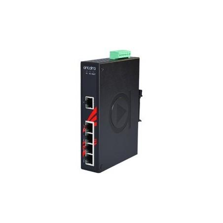 5 ports Industriel 10/100/1000Mbit switch, PoE+, DIN-skinne, -10 - +70°C, 48 - 55VDC