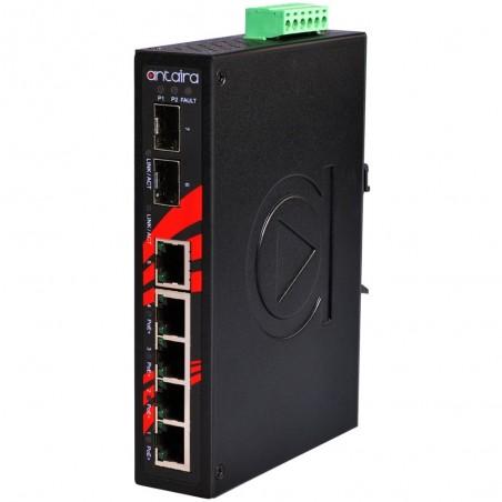 5 ports Industriel 10/100/1000Mbit switch + 2 x Gbit SFP slot, PoE+ (30W), DIN-skinne, -40 - +85°C, 48 - 55VDC