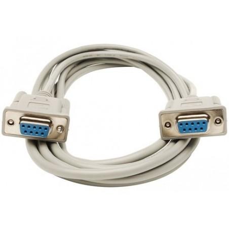 Nullmodem kabel med 2 x DB9 hun, 28 AWG, grå , 5,0m