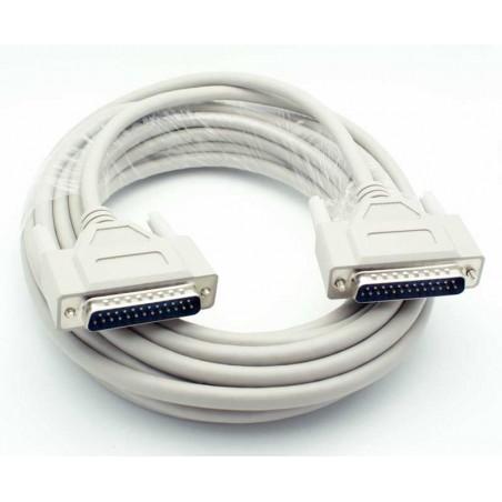 SUB D RS232 tilpasningskabel, DB25 han - DB25 han, skærmet, IEEE1284, AWG28, grå, 10m