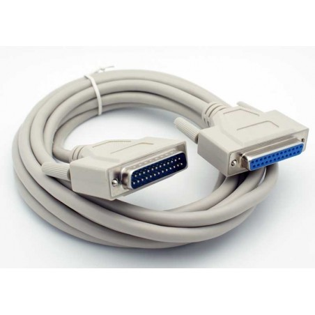 Parallel forlænger/ printerkabel, DB25 han - DB25 hun, AWG28, grå, 0,75m