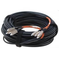 Armeret fiberkabel Multi Mode, 62,5/125 μm, 4 x SC stik i hver ende, sort, 80 meter