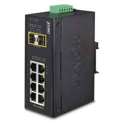 10 ports industri switch 8 x Gbit RJ45 + 2 x SFP - Unmanaged, 12-48VDC, -40 - +75°C